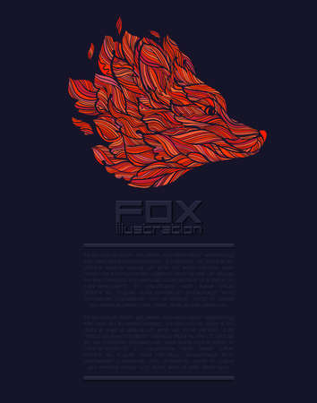 Vector Fox of Wolf Design Icon Logo Luxe rood Stock Illustratie