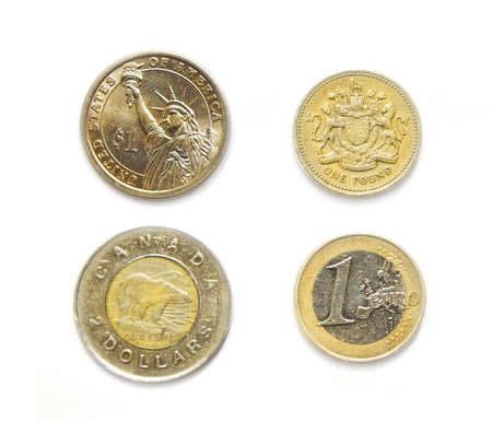 one us dollar coin: 4 currencies one USA, Canadian, Euro, Pound coins