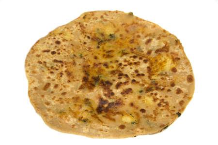 paratha: Potato stuffed paratha with aloo filling isolated white background Stock Photo