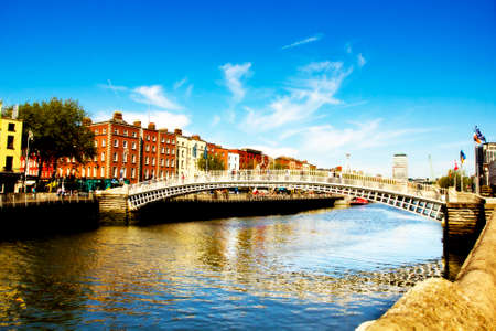 The most famous Dublin city center bridge  Stock Photo