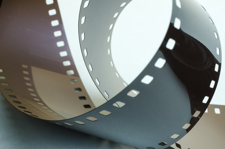 Ring of film on a white background