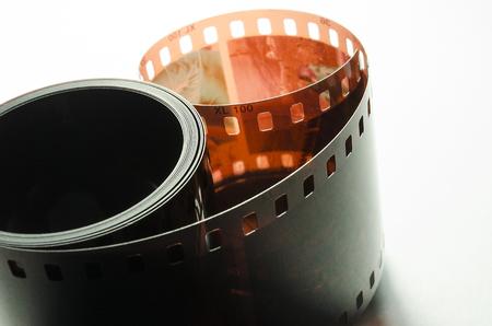 Coated photo film on a white background Stok Fotoğraf