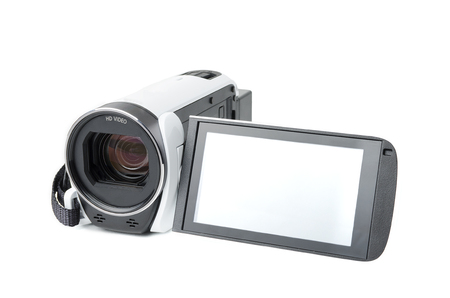 compact video camera with a swivel screen on a white background Banco de Imagens