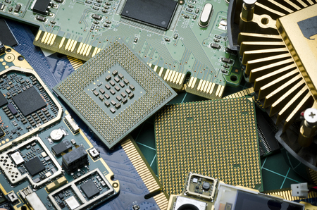 Different electronic boards for spare parts and recycling Banque d'images