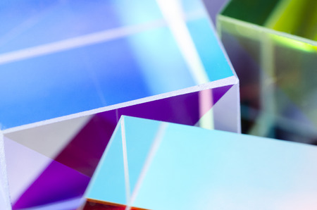 Colorful glass cubes close-up abstract