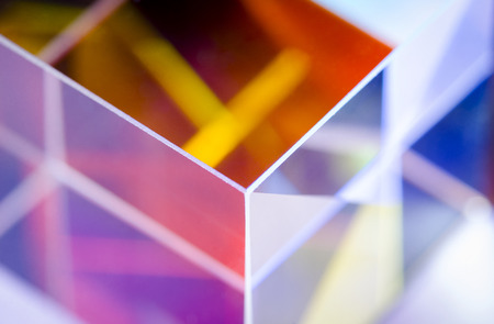 Angle of colorful glass cube abstract close-up