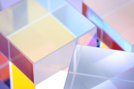 abstract colored glass cubes close-up