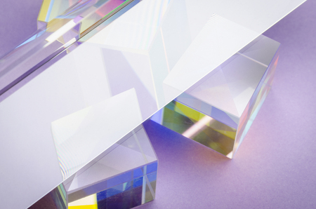 bright transparent glass cubes and reflection abstractly Banque d'images
