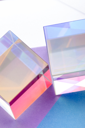 Glass colored transparent cubes abstract