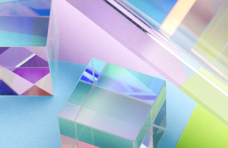 abstract colorful background with glass cubes and reflections