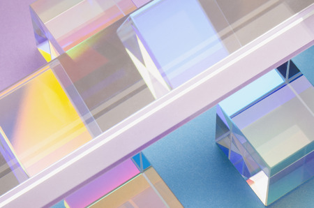 abstract colorful background with glass squares and reflections