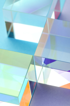 Colorful abstract shining glass cubes