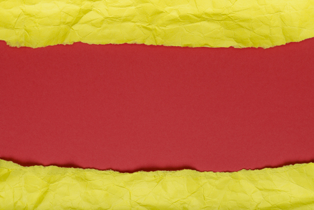Background of crumpled paper yellow red horizontal