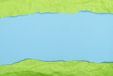 Background of crumpled paper blue green horizontal