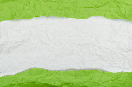 Background of crumpled paper white green horizontal