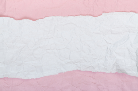 Background of crumpled white pink paper horizontally Banque d'images