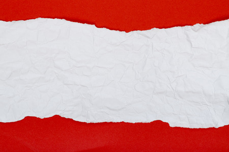 Background of crumpled paper red white horizontal