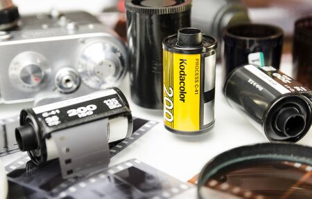 Moscow, Russia - may 21, 2019: Film kodacolor Kodak closeup Éditoriale
