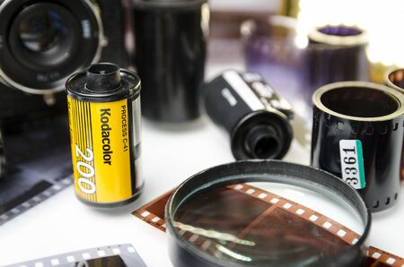 Moscow, Russia - may 21, 2019: Kodak Film kodacolor, and developed film closeup Éditoriale