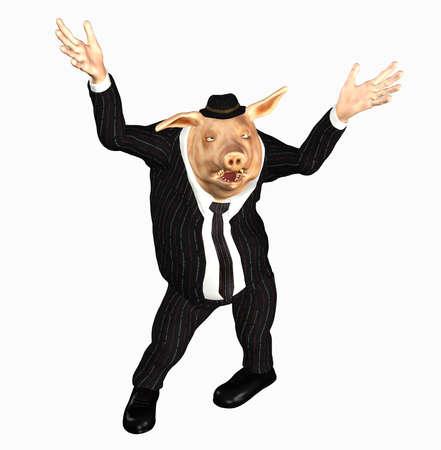 mature business man: manger pig toon