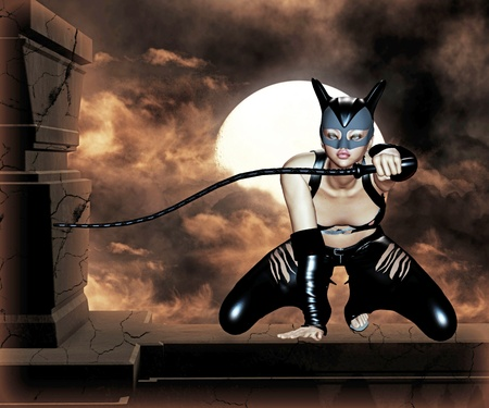 fetishism: cat woman Stock Photo
