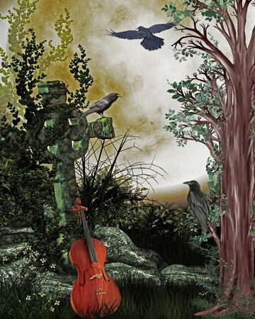 demise: spooky scenery with violin, grave and crows