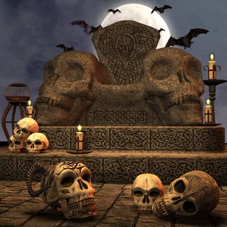 buried: spooky skull throne