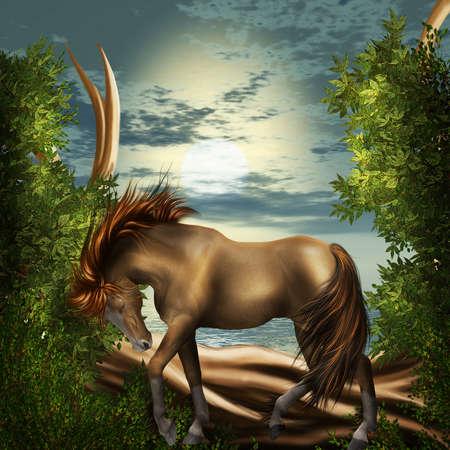 forrest: paard in een dromerige woodland