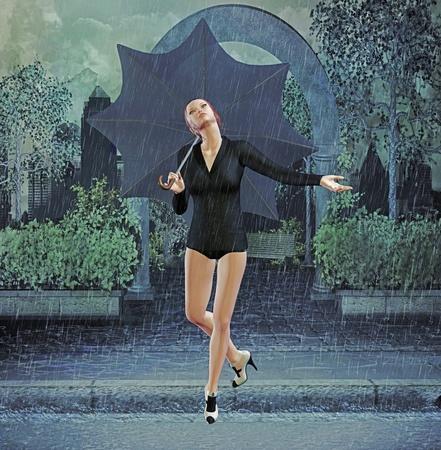 seductive woman: dancing in the rain