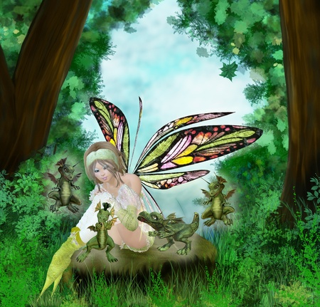 dreamland with cute little dragons and fairy Stock Photo - 9147018