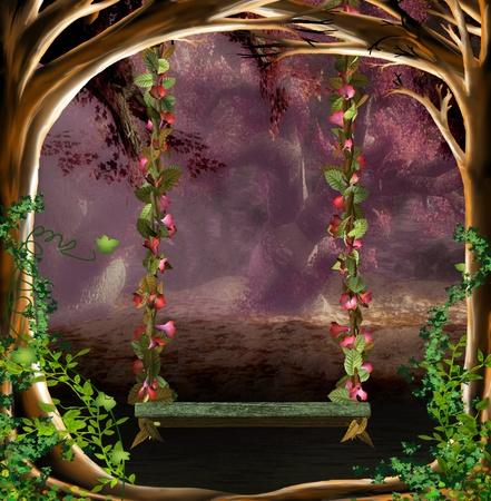 fairytale background: fantasy swing