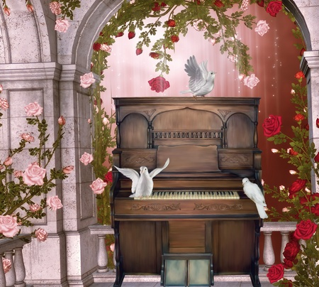 Old piano on a balconery with doves Stock Photo