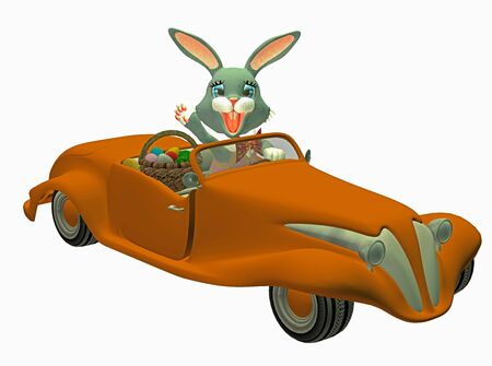 easter bunny in a car