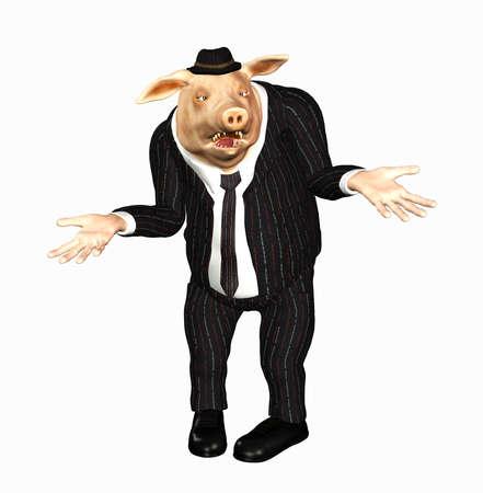 mature business man: manager toon pig