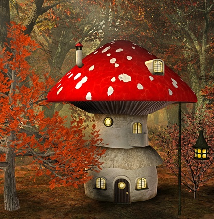 mushroom house Stock Photo - 9147429