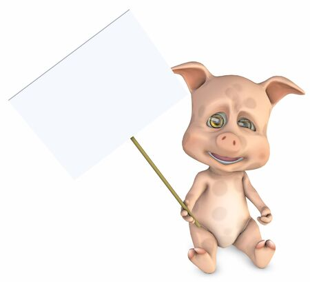 cute pig with a sign Stock Photo - 9147555