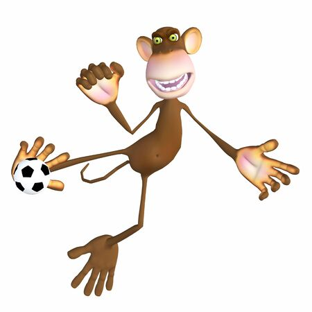 monkey playing with a soccer ball