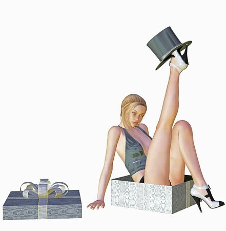 woman is sitting in a present box