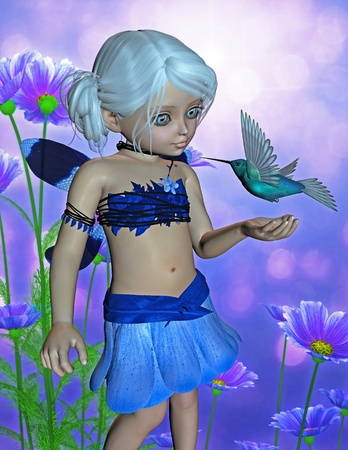 faerie: fairy with hummingbird Stock Photo