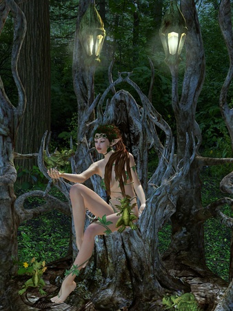 nymph: elf in the wood Stock Photo