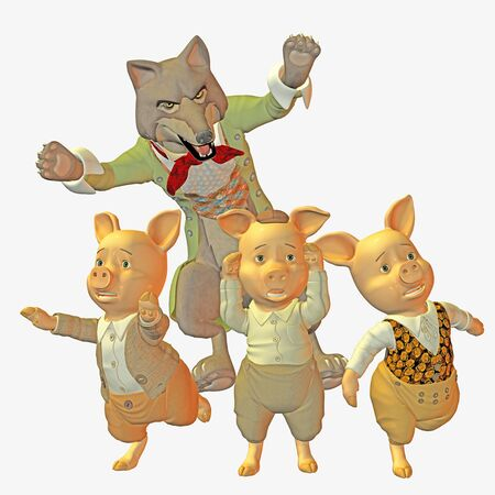 three little pigs: Big bad wolf and three little pigs