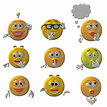 Set of 9 3D emoticons - smileys Stock Photo - 9146542