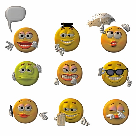 Set of 9 3D emoticons - smileys Stock Photo