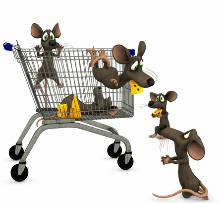 mice goes shopping Stock Photo