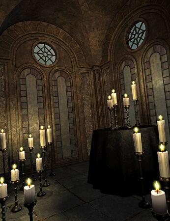 demise: spooky church Stock Photo