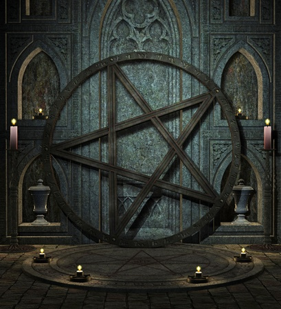 cross bone: spooky altar Stock Photo