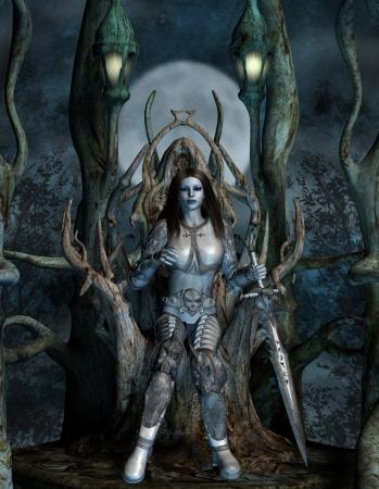 trono real: Mujer en un trono de fantas�a en la madera
