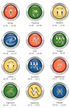 Glossy buttons with zodiac signs isolated on white Stock Photo - 9146351