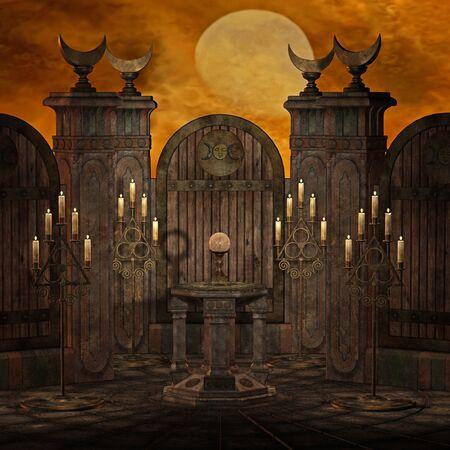 altar: spooky altar Stock Photo