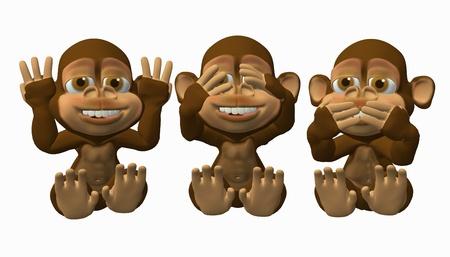 See No Evil. Speak No Evil, Hear No Evil Monkeys Stock Photo - 9146346